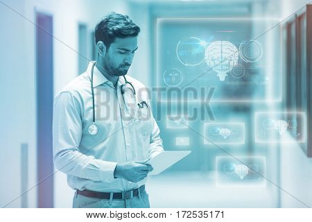 Medical biology interface in black against doctor using digital tablet 3d