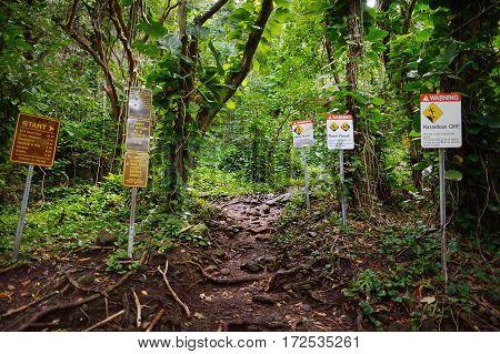 Trailhead Of The Famous Kalalau Trail Along Na Pali Coast Of The Island Of Kauai