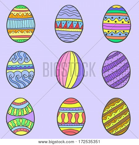 Easter egg colorful style of set vector art