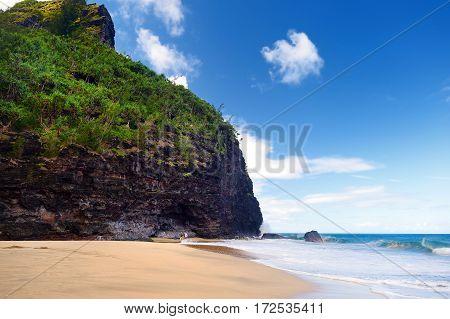 Hanakapiai Beach As One Of Checkpoints Of Kalalau Trail Of Napali Coast, Kauai