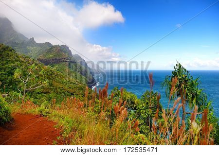 View Of The Famous Kalalau Trail Along Na Pali Coast Of The Island Of Kauai