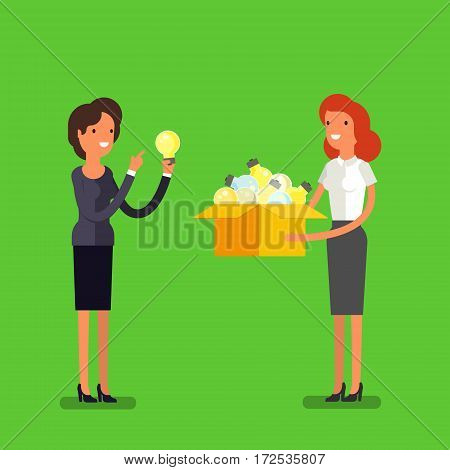 Concept of idea. Business woman with box and light bulb. Flat design, vector illustration.