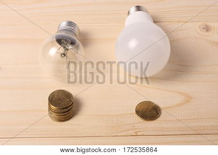 led lamp bulb with coins on wooden background