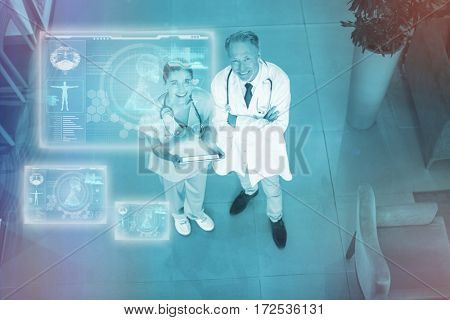 Medical biology interface in blue against doctor and nurse discussing over digital tablet 3d