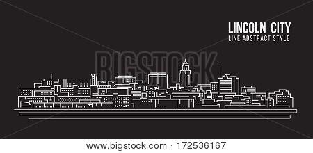 Cityscape Building Line art Vector Illustration design - Lincoln city