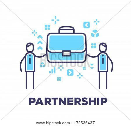 Vector Business Illustration Of Two Men Holding A Big Blue Brief Case Together On White Background W