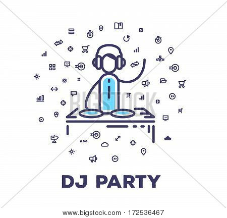 Vector Illustration Of A Man In Headphones At Dj Station On White Background With Icon Cloud.