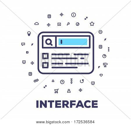 Vector Illustration Of A Search Browser On White Background With Icon Cloud. User Interface Element