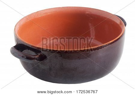 a clay pot on a white background