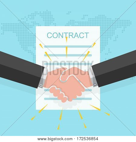 Business handshake on the background of a signing of the contract. Vector illustration. The concept of a successful transaction.