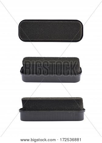 Black shoe polish sponge isolated over the white background, set of three different foreshortenings