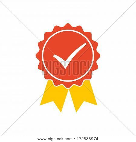 Red medal icon with yellow ribbons and check mark. Vector illustration. Silhouette of trophy awards or medal.