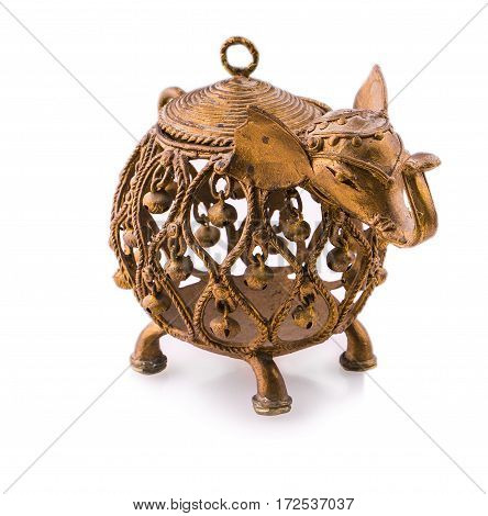 Indian elephant with bells metal candlestick .