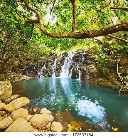 Scenic Cascade Vacoas waterfall. Mauritius island