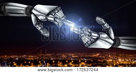 Silver robot arm pointing at something against illuminated harbor against cityscape 3d