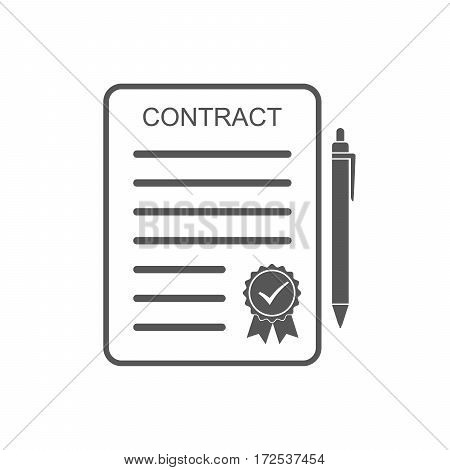 Gray contract icon. Vector illustration. Business contract symbol with ball pen and sealed isolated on white background.