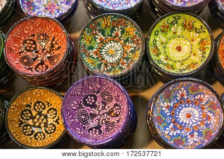 Traditional Turkish ceramic plates in the grand bazaar