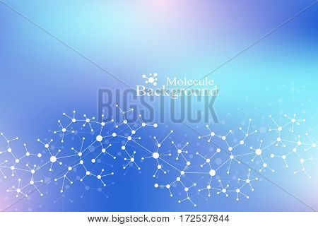 Scientific chemistry pattern. Structure molecule DNA research as concept. Science and technology background communication. Medical scientific backdrop for your design. Vector Illustration