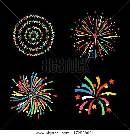 Firework different shapes vector illustration. Colorful festive bright collage design brochures poster, wrapping paper, greeting card. Salute anniversary celebration explode icon.