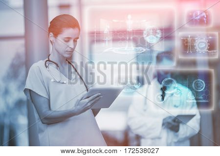Medical interface in blue and black against doctor and nurse using digital tablet 3d