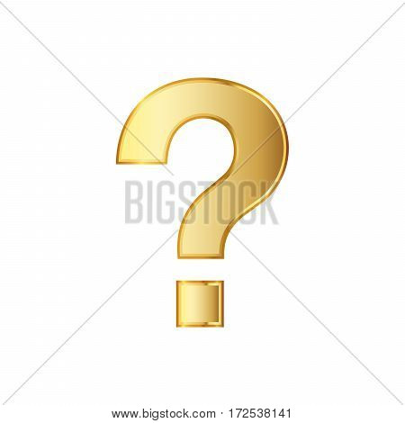 Golden question icon. Vector illustration. Golden question symbol isolated on white background.