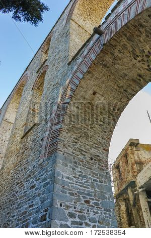 Ruins of medieval aqueduct in Kavala, East Macedonia and Thrace, Greece