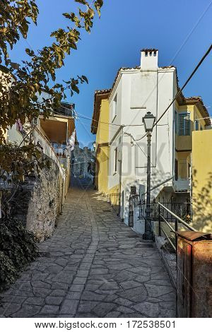 Typical stret in Old town in city of Kavala, East Macedonia and Thrace, Greece