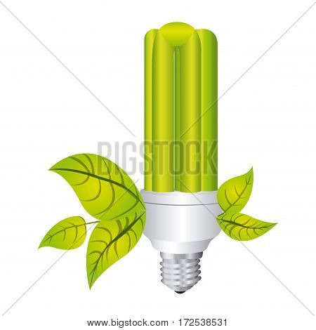 color silhouette with fluorescent lamp with recycling symbol vector illustration