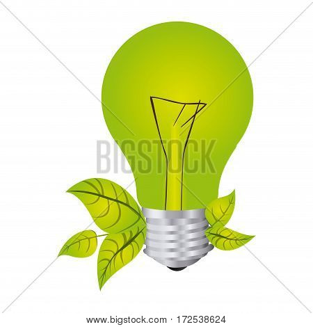 color silhouette with light bulb and leaves vector illustration