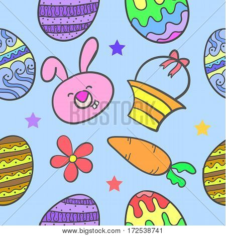 Doodle of easter with egg bunny flower vector art