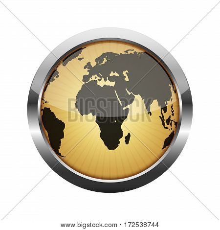 Metallic glossy button with globe isolated on white. Vector illustration. Metallic round button.