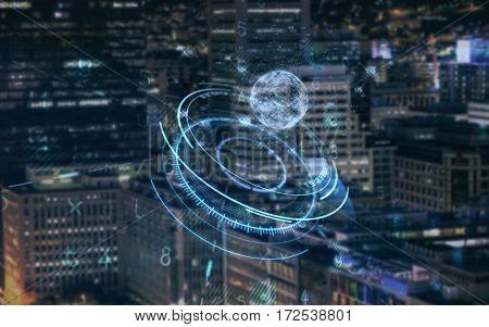 Virus background against illuminated building in city at night