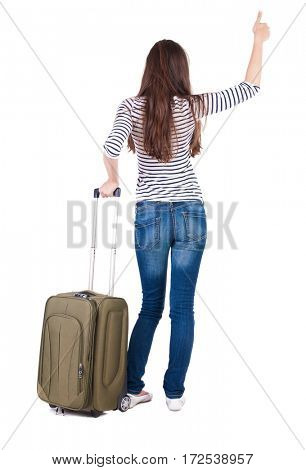 Back view of brunette woman with suitcase thumbs up.  girl shows ok sign . Rear view people collection.  backside view of person.  Isolated over white background.