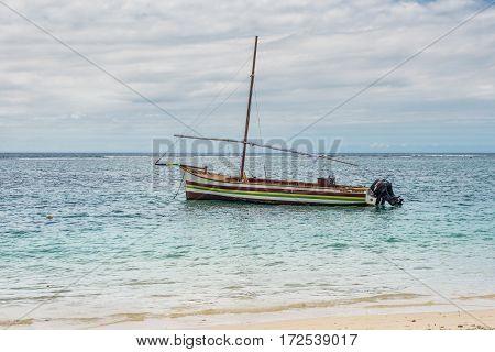 Flic en Flac Mauritius - December 9 2015: Yacht and Indian Ocean in Flic en Flac bay Mauritius.