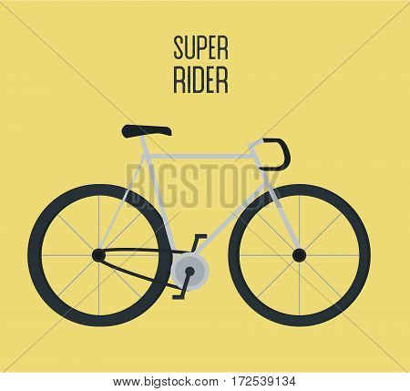 Flat city bicycle illustration. Bike icon isolated on yellow. Bike for rent concept, logo idea, logotype, rental sticker badge modern design, repair service help road sign symbol image.