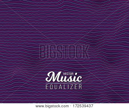 Illustration of Digital Wave Equalizer. Sound Noize Wave Distortion Graph. Music Pulse Audio Frequency Background