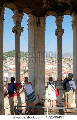 People Admiring The View Of Split
