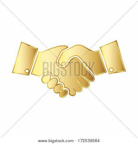 Golden handshake icon. Vector illustration. Golden handshake symbol isolated on white background. The concept of a successful transaction