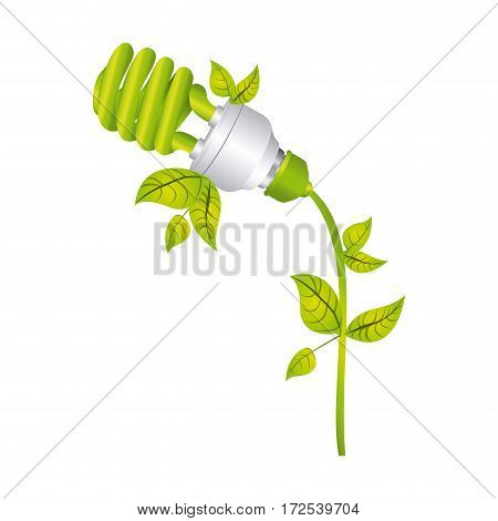 color silhouette with spiral fluorescent lamp with leaves and inclined to left side vector illustration