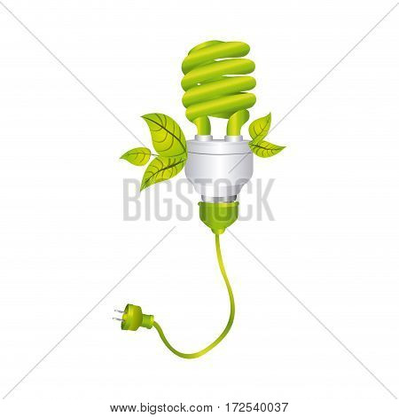 color silhouette with spiral fluorescent lamp with leaves and plug vector illustration