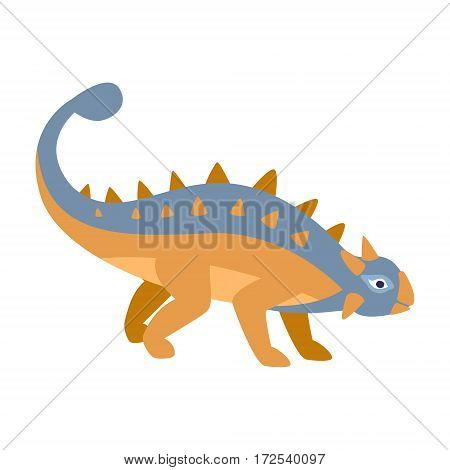 Ankylosaurus Blue And Orange Dinosaur Of Jurassic Period, Prehistoric Extinct Giant Reptile Cartoon Realistic Animal. Simplified Dinosaur Species Vector Illustration With Recognizable Details Of Ancient Fauna.