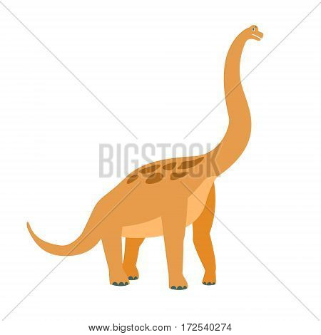 Brachiosaurus Dinosaur Of Jurassic Period, Prehistoric Extinct Giant Reptile Cartoon Realistic Animal. Simplified Dinosaur Species Vector Illustration With Recognizable Details Of Ancient Fauna.