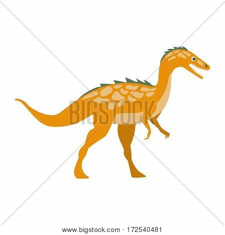 Predator Raptor Dinosaur Of Jurassic Period, Prehistoric Extinct Giant Reptile Cartoon Realistic Animal. Simplified Dinosaur Species Vector Illustration With Recognizable Details Of Ancient Fauna.