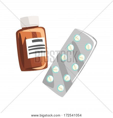 Drugs And Pills, Part Of Doctor Of Medicine Equipment Set Isolated Object. Cartoon Realistic Healthcare Related Item Vector Illustration