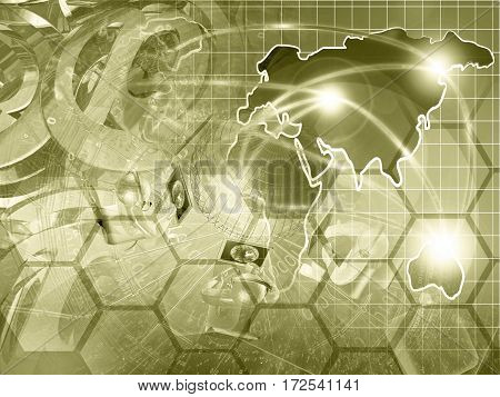 Computer background in sepia with globe map mans and mail symbols.