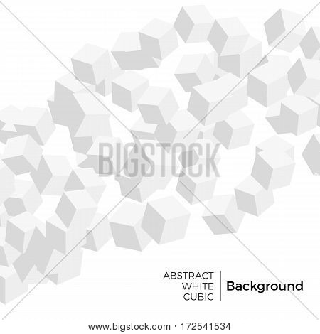 Abstract white cubic geometric vector background. Light gray isometric cubes on white background. Ascendant flow of elements.