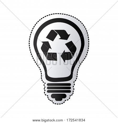 black silhouette sticker with light bulb with recycling symbol vector illustration