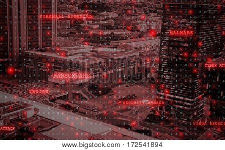Virus background against illuminated cityscape at dusk