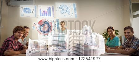 Skycrapers against composite image of global business interface