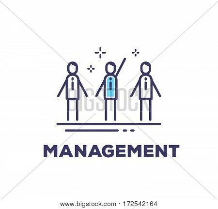 Vector Business Illustration Of Men In Suits Standing Together On White Background With Title. Manag